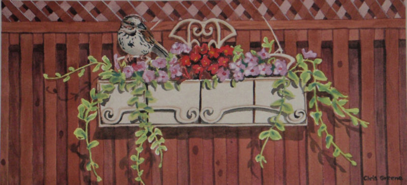 Hanging Planter with Sparrow