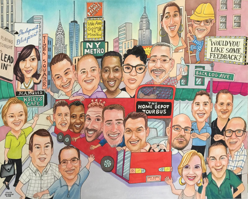 Portrait Gift from Home Depot Executive to retiring employee. 22 people with a Times Square background.