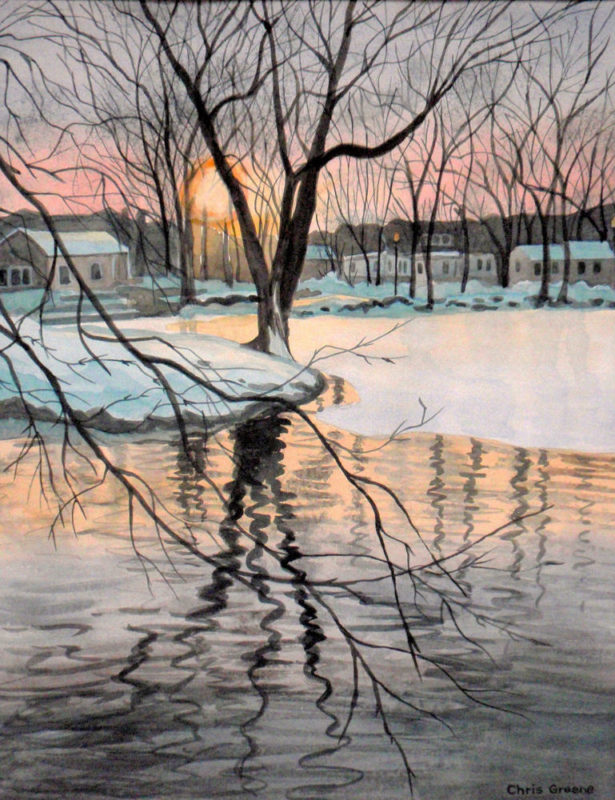 Sunset on Heckscher Park Pond